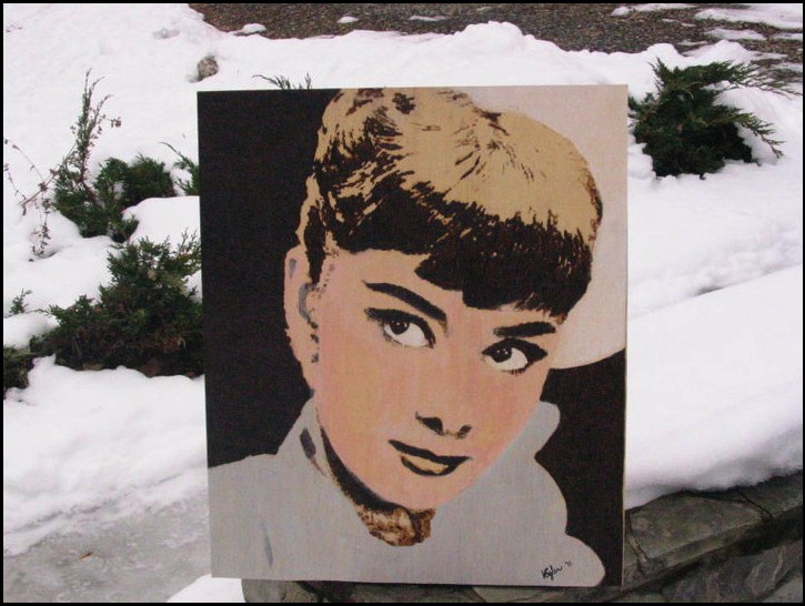 Audrey Hepburn by Tom Vogler Pyrography and color on wood panel